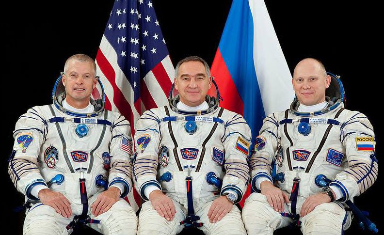 From left, Steamboat Springs High School alumnus Steve Swanson, Alexander Skvortsov and Oleg Artemyev will board the Soyuz TMA-12M on Tuesday and launch into space from Kazakhstan as part of Expedition 39.