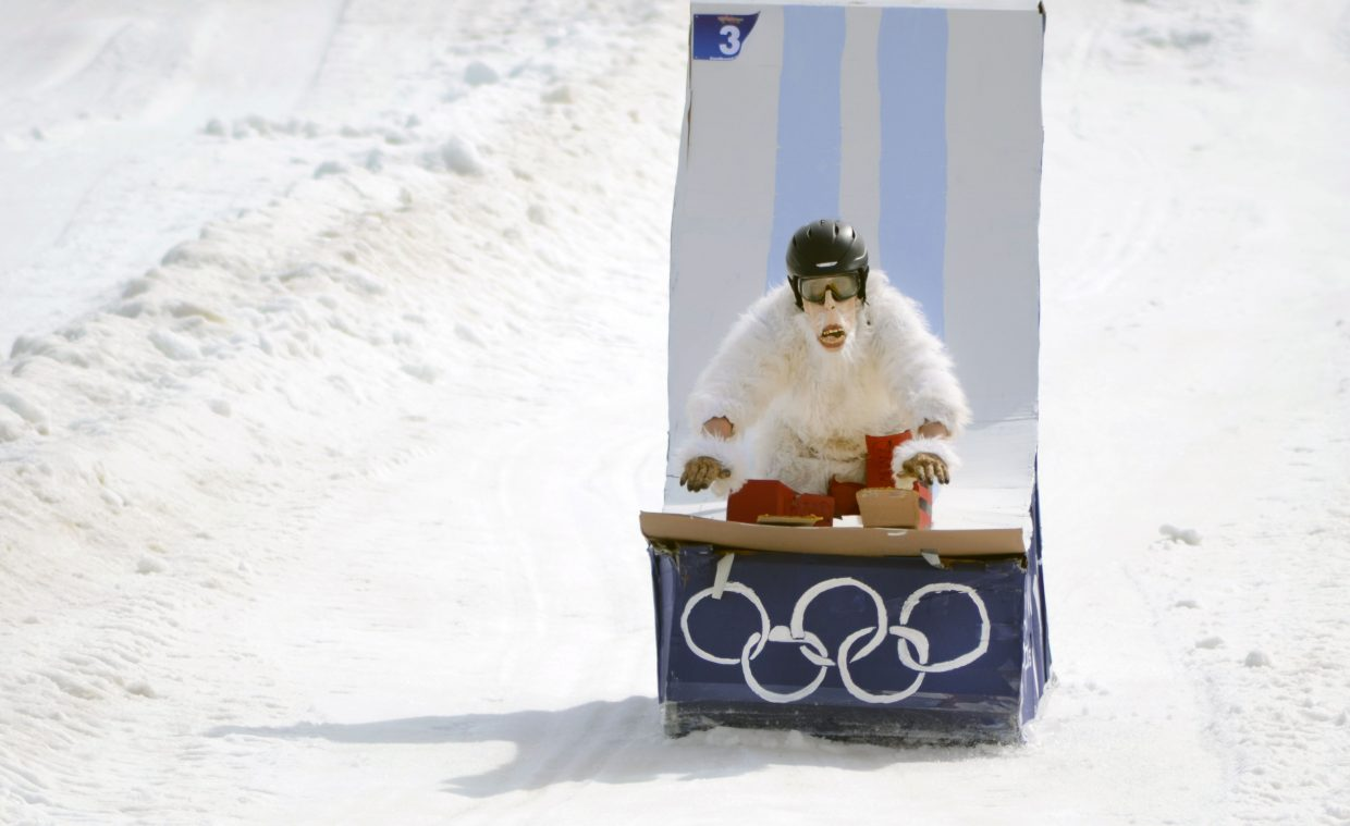 """Zac Barbiasz donned an Abominable Snowman costume and rode solo on his craft """"The Flying Yeti"""" in Saturday's 34th annual Cardboard Classic. He won Best Individual Craft for his one-man entry."""