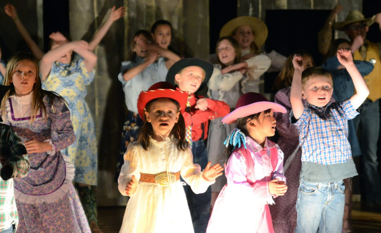 """Youngsters take center stage during the chorus of Heritage Christian School's latest play, """"Jonah's Druthers."""""""