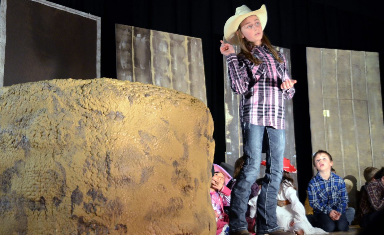 """Jada Krieger, a Heritage Christian School sixth-grader, goes through Monday's dress rehearsal at Heritage Christian, preparing for Wednesday's performance of """"Jonah's Druthers."""""""