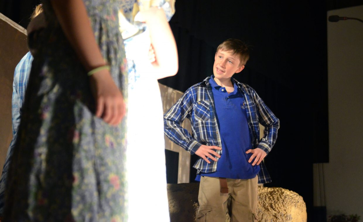 """Heritage Christian School fourth-grader Bowden Tumminello rehearses his lead-role lines of the school's latest play, """"Jonah's Druthers."""""""