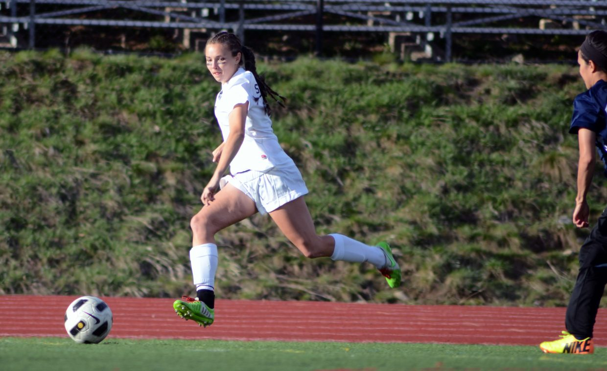 Steamboat senior Alice Holmquist sprints toward the goal in the first half of the Sailors' 7-0 win over Rifle Thursday night. Holmquist led the team with a pair of goals.