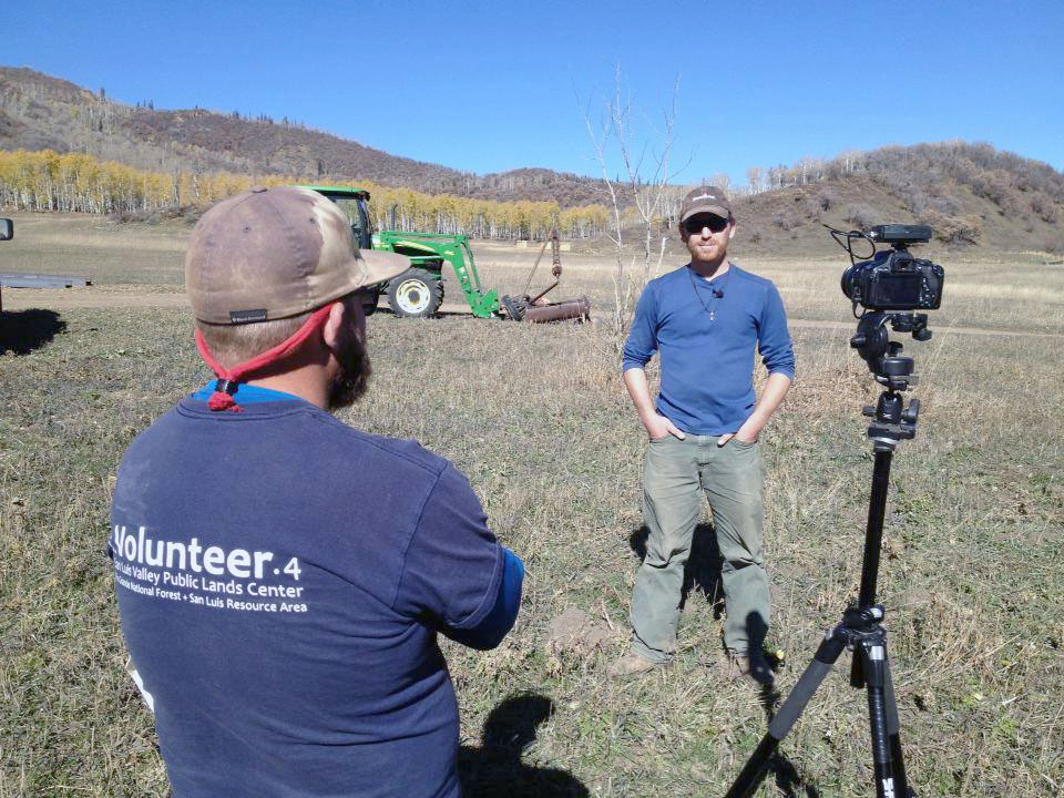 Routt County Roots' Cody Perry, left, interviews Yampa Valley Farms' Charlie Preston-Townsend for the fourth episode of the project's ongoing documentary series about sustainable food.