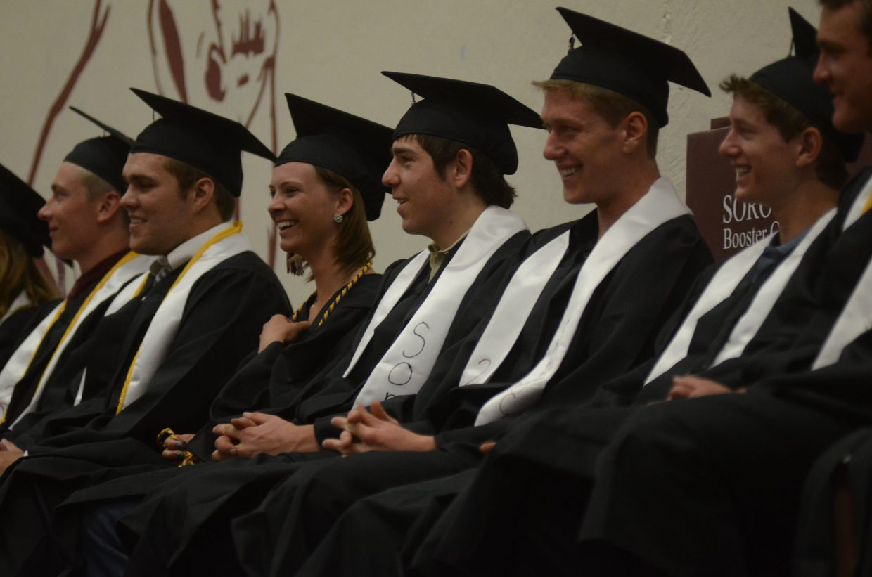 Students from Soroco's Class of 2014 laugh at a joke from commencement speaker Coach Dick Dudas during their graduation ceremony Saturday.
