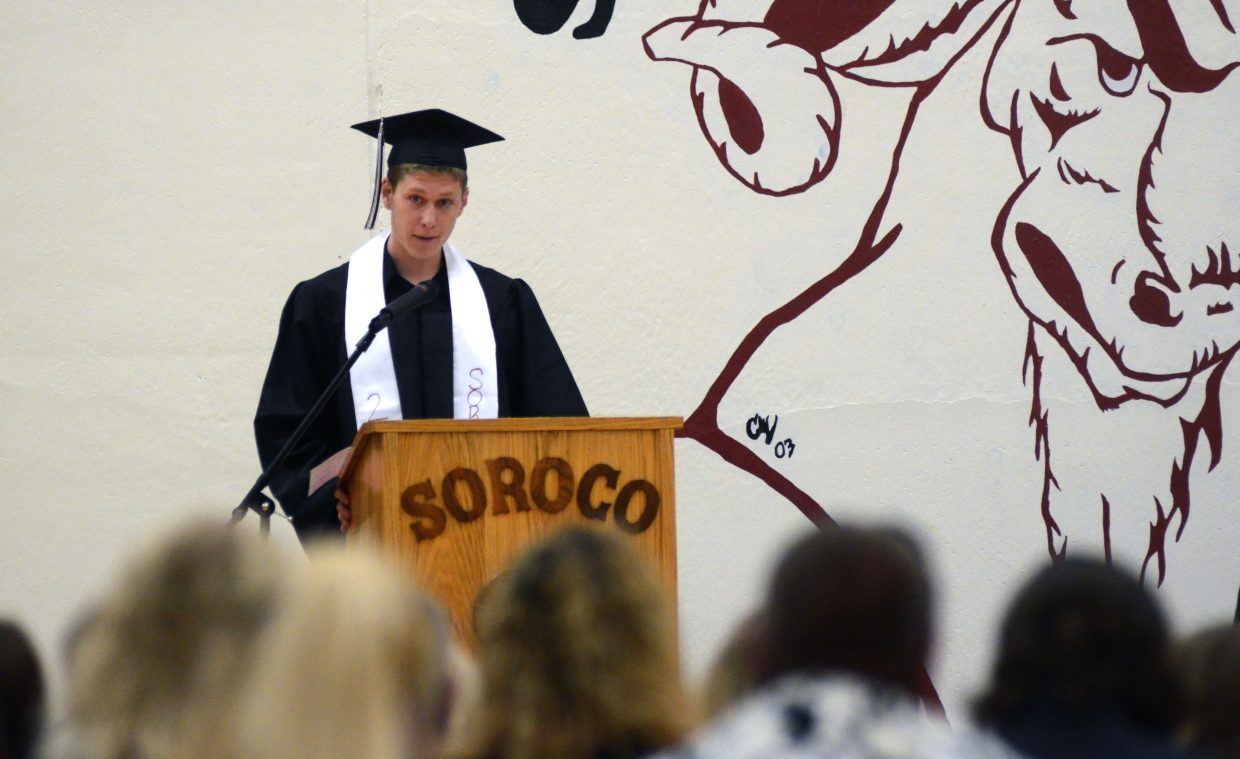 Soroco valedictorian Aaron Herzog delivers his speech at Saturday's commencement ceremony. Herzog will attend Cal Poly San Luis Obispo in California in the fall to study aerospace engineering.