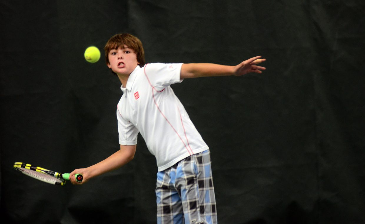 Steamboat's Andy Schuiling took down fellow Steamboat player Wyatt Stempel, 6-3, 7-6, in the boys singles consolation bracket in Monday's finals at the Tennis Center at Steamboat Springs.
