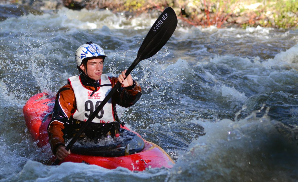 Hunt Jennings gets through a rare gentle stretch in the Paddle Life Fish Creek Race to kick off the 2014 Yampa River Festival.