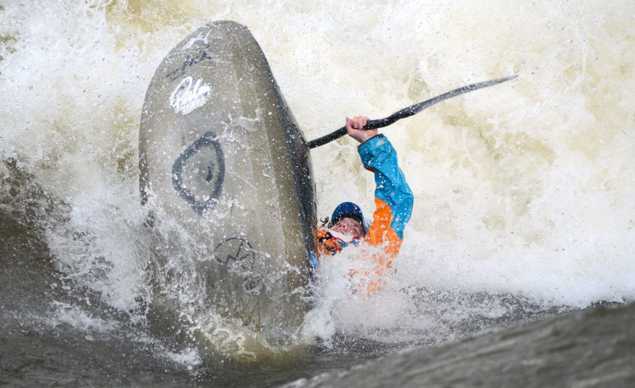 Saturday's winner of the Yampa River Festival freestyle kayak competition was Bren Orton, who used a variety of technical tricks to score a 27 from the judges.