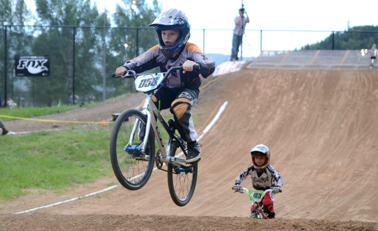Steamboat Springs' Owen Fitzgerald, 9, catches some air in his heat at the Thursday night USA BMX series race at Howelsen Hill.