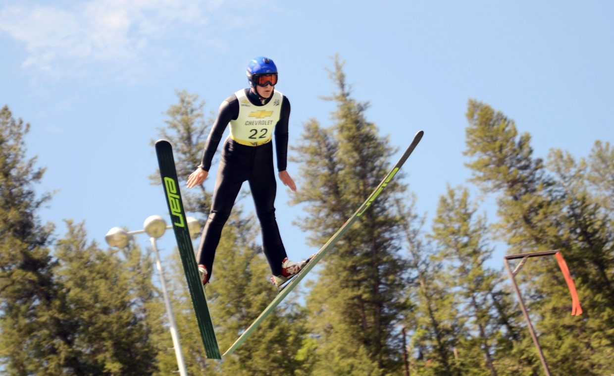 Steamboat Springs Winter Sports Club's Grant Andrews flies off the HS75 jump Friday at Howelsen Hill for the Jumpin' & Jammin' Ski Jumping competition on Fourth of July.