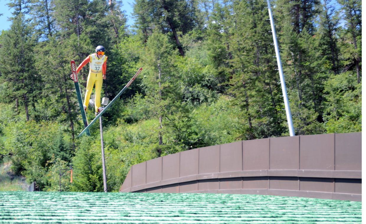 Brett Denney advanced to the round of 12 on Friday in the Fourth of July Jumpin' & Jammin' Ski Jumping competition at Howelsen Hill.