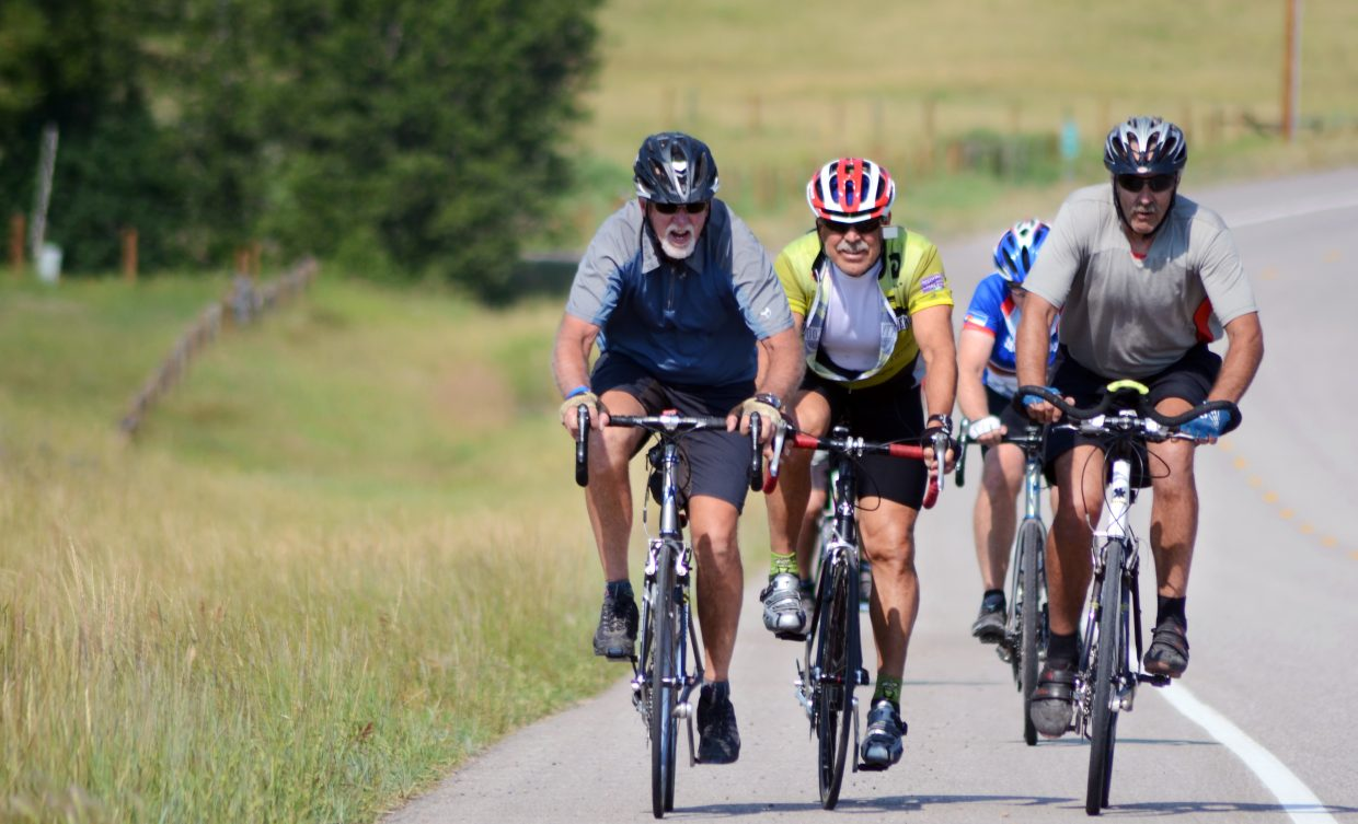 A group of riders heads up Colorado Highway 131 just outside of Steamboat Springs on Saturday during the Tour de Steamboat Stagecoach Out-n-Back route.