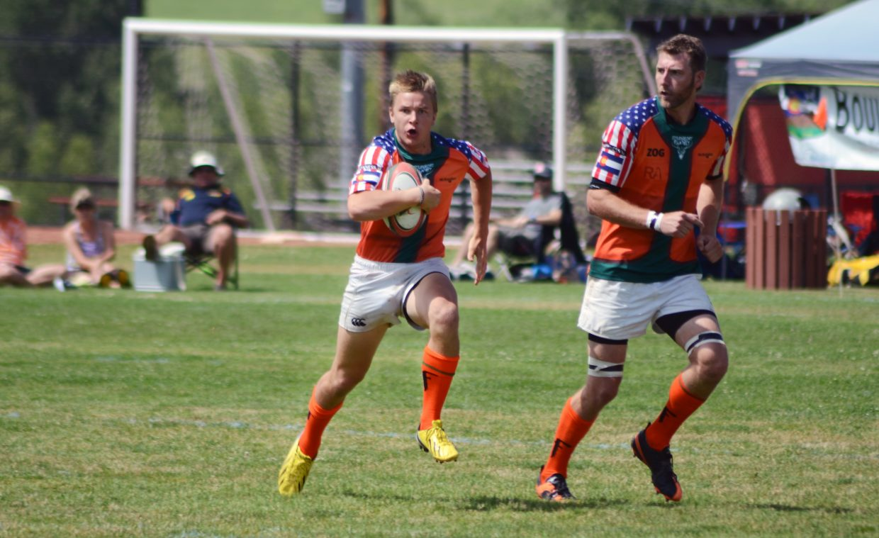 Steamboat Rugby Club's Nigel Hammond carries against Jackson Hole, Wyoming, in last weekend's Cow Pie Classic Rugby Tournament. Hammond and Steamboat ripped off a 42-27 road win Saturday against Aspen to clinch a home spot in the league championships.