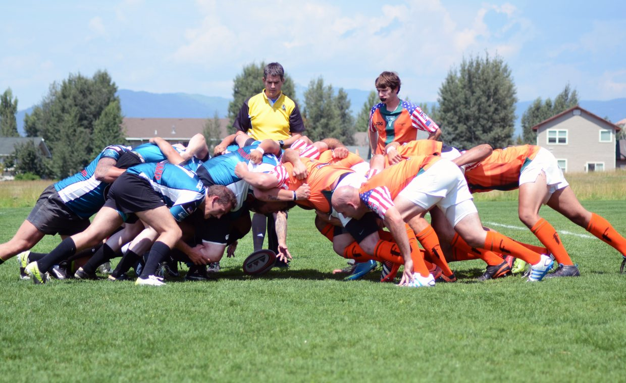 The Steamboat Springs Rugby Club scrums with Glenwood Springs on Saturday at Whistler Field.