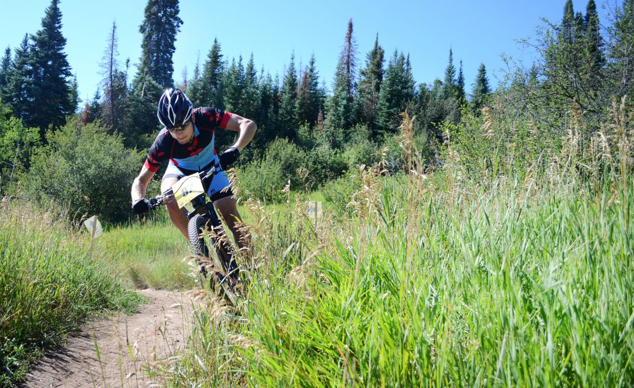 Chris Baddick finished both laps of the Steamboat Stinger men's pro-open class in third place Saturday, conquering the course in 4:11:04.