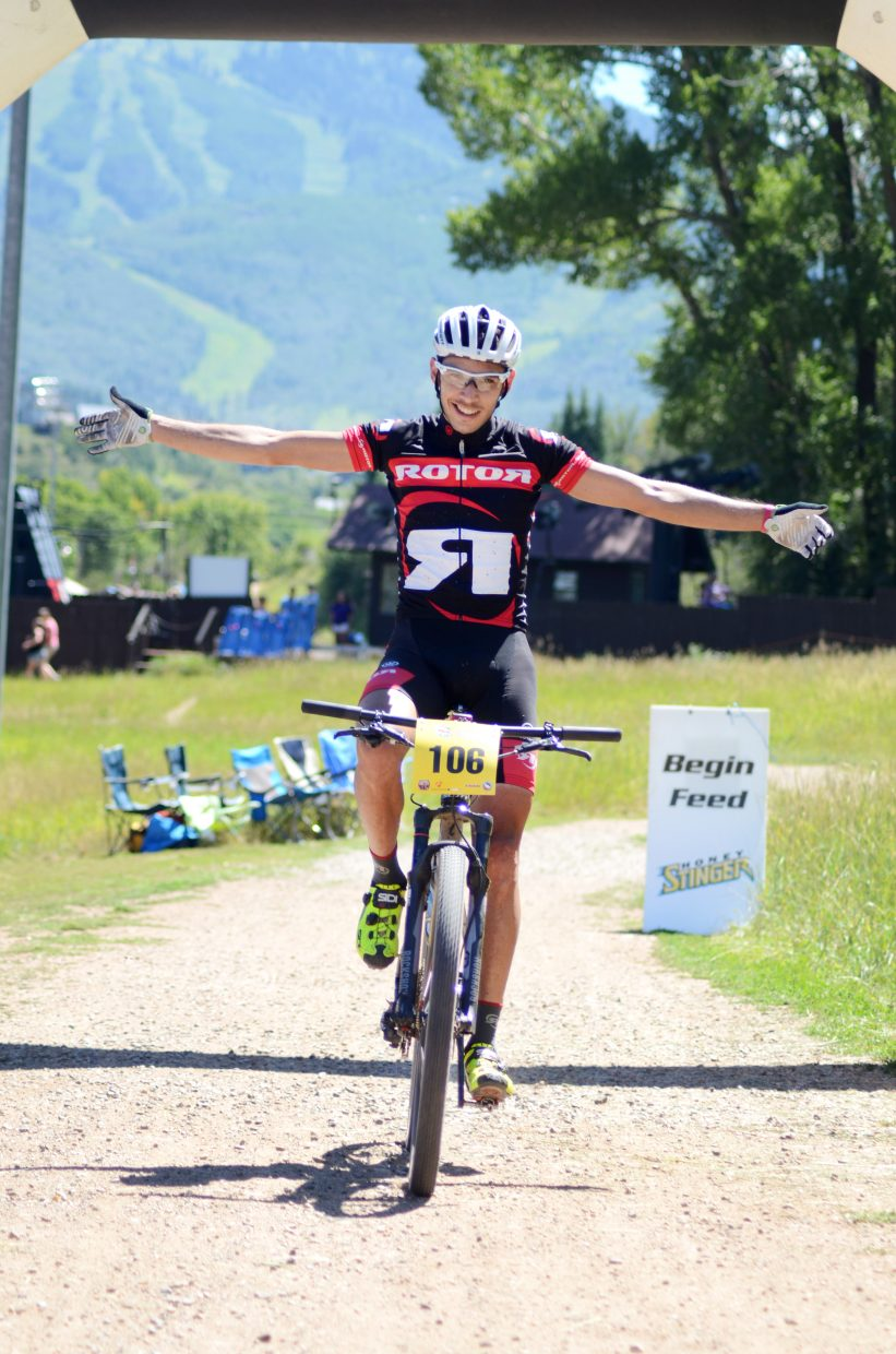 Fernando Riveros Paez won the men's pro-open class in the fourth-annual Steamboat Stinger. Riveros Paez finished the 50-mile course in 4:09:34.
