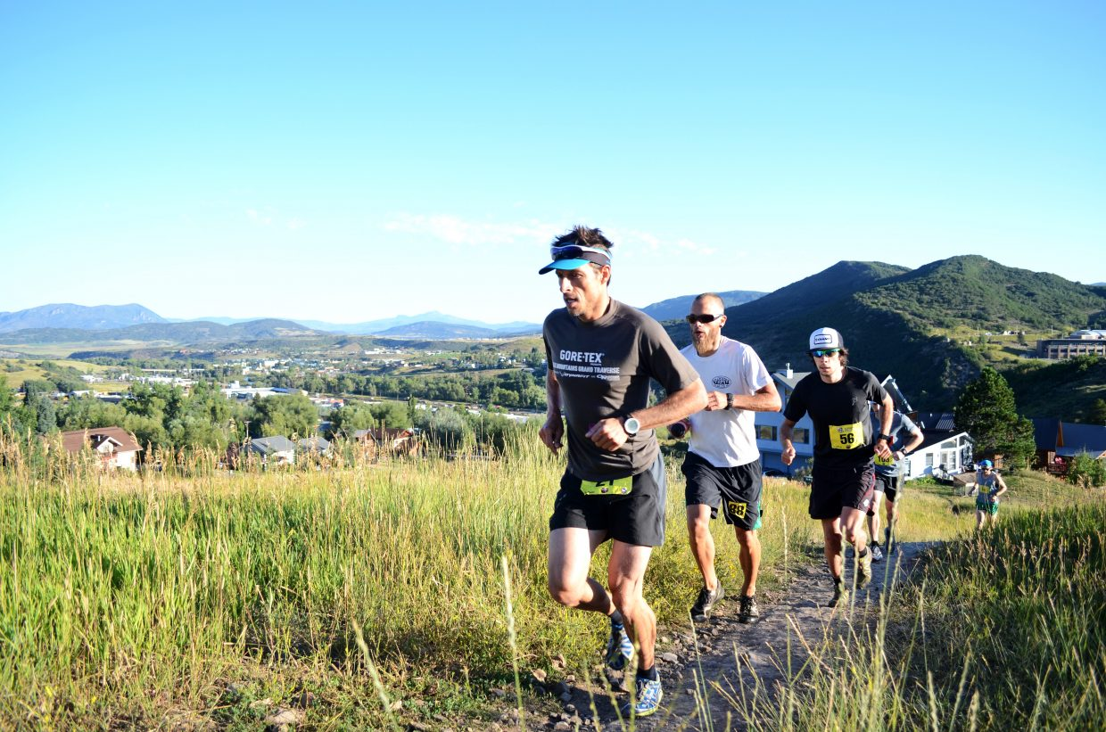 Steamboat Stinger King Sting and full marathon winner Jon Brown heads up Emerald Mountain in the early moments of Sunday's races. Brown finished the marathon in 3:37:16.
