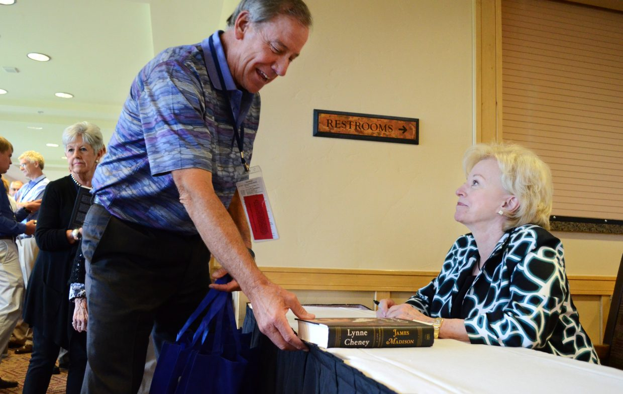 """Lynne Cheney, right, was at The Steamboat Grand on Friday afternoon signing copies of her latest book, """"James Madison: A Life Reconsidered,"""" to kick off the sixth annual Freedom Conference put on by The Steamboat Institute."""