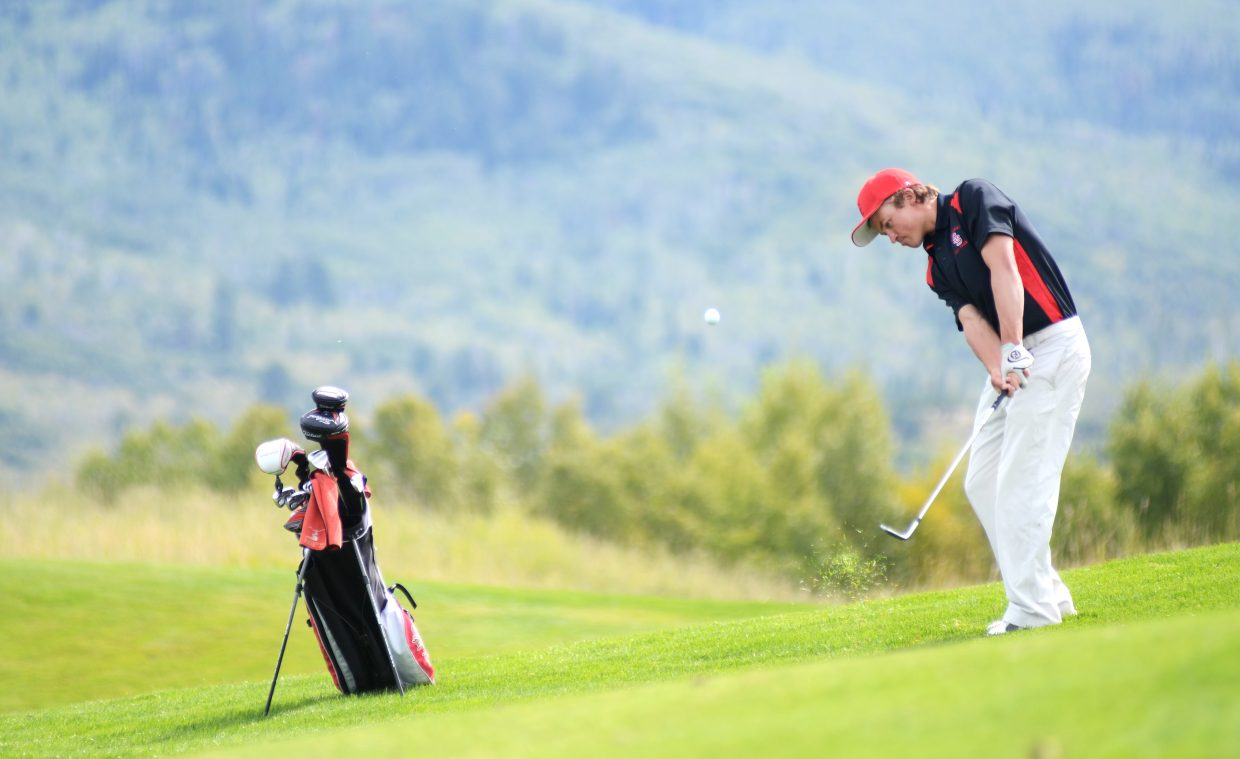 Steamboat Springs High School senior Spencer Petersen approaches the green Thursday at Haymaker Golf Course. Petersen shot a 76, tying for second place overall in the Sailor Invitational and helping Steamboat win by 29 strokes.