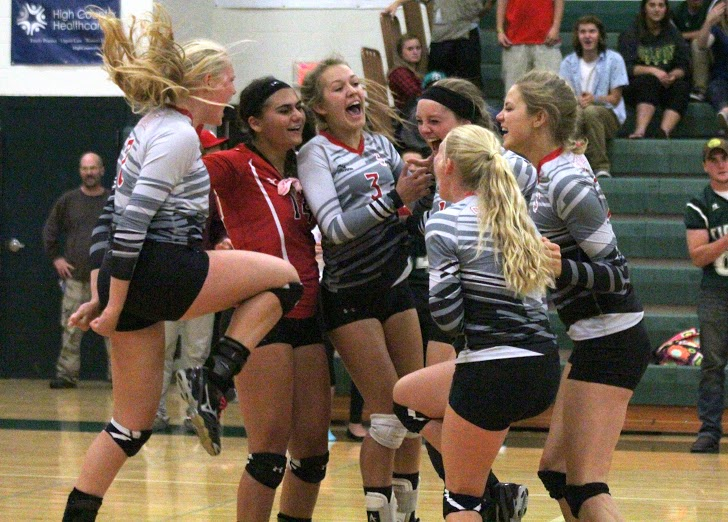 The Steamboat Springs High School volleyball team celebrates after a thrilling 31-29 Game 2 win against Summit Thursday night. The Sailors went on to win the match, 3-0, to improve to 7-0 on the season.