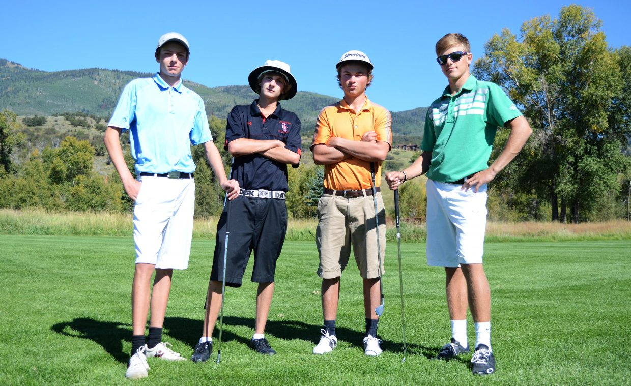 From left, Will Firestone, Brandon Martin, Spencer Petersen and Britt Walton are gearing up for Tuesday's 4A regional tournament in Durango. Last year, the Sailors were edged for the regionals win, a two-stroke deficit behind winner Durango.