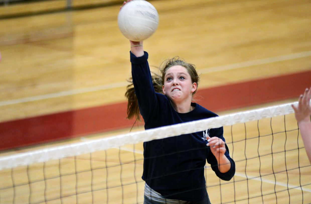 Steamboat Springs junior Jenna Miller throws down a spike in Wednesday's practice at Kelly Meek Gymnasium. Miller and the Sailors (8-0) are set to take on 7-2 Eagle Valley on Thursday night in the Game of the Week.