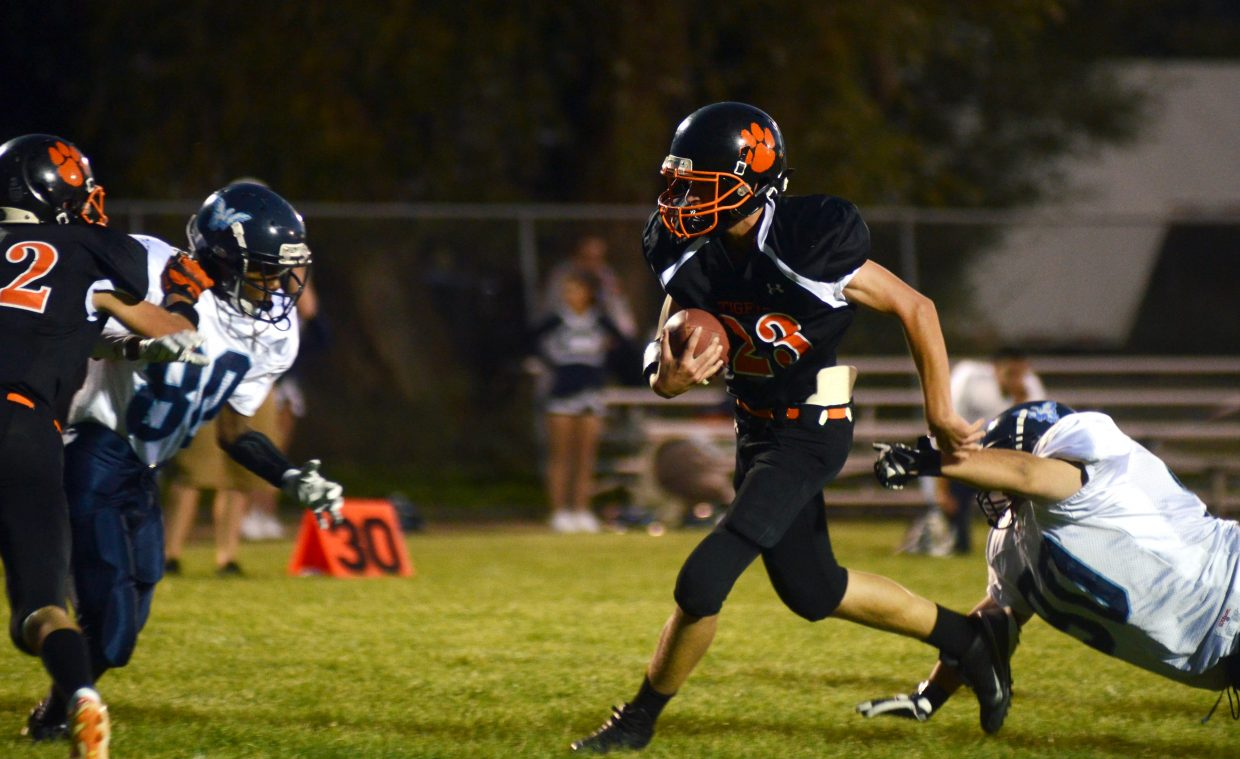 Hayden freshman running back Will Lighthizer, 23, ran for 78 yards and a touchdown Friday night in the Tigers' 56-20 win over Justice.