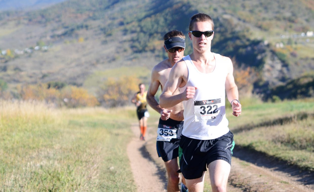 Watkins Fulk-Gray leads Glenn Light and Harry Niedl early in the Emerald Mountain Trail Run Saturday morning, the final race of the Steamboat Springs Running Series summer season. Fulk-Gray went on to win the race, but Niedl was the series' overall men's champion.