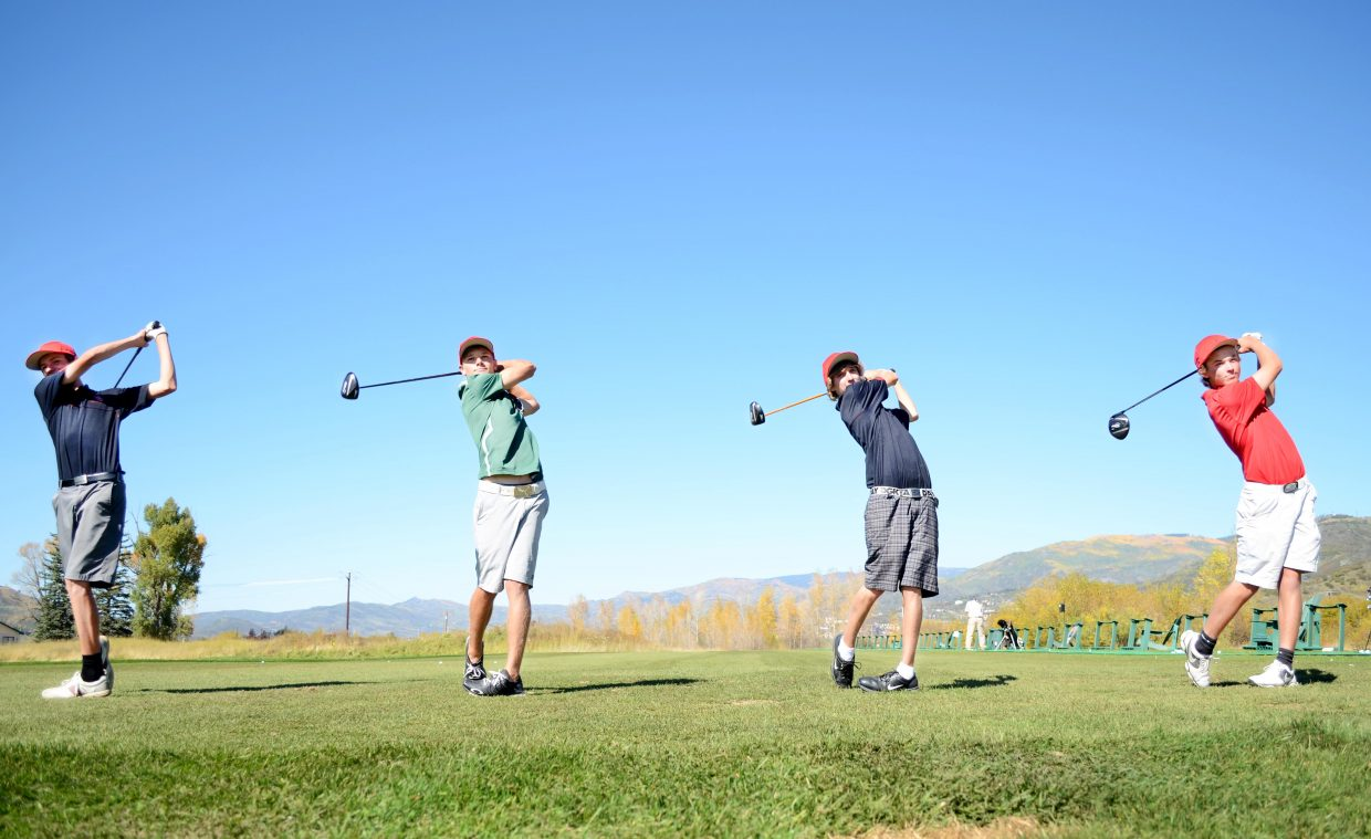 From left, Will Firestone, Britt Walton, Brandon Martin and Spencer Petersen make up one of just eight 4A teams that qualified a full squad for the upcoming state championship rounds at Pueblo's Walking Stick Golf Course. The two-round tournament begins Monday morning.