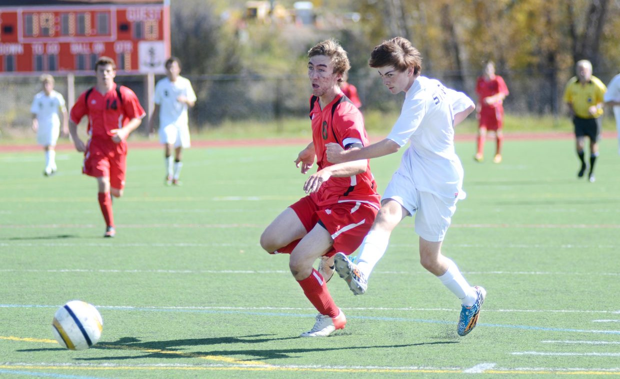 Steamboat Springs High School sophomore Ross VanHara fires in a shot on Glenwood Springs in the first half of the Sailors' big win Saturday, 7-1.