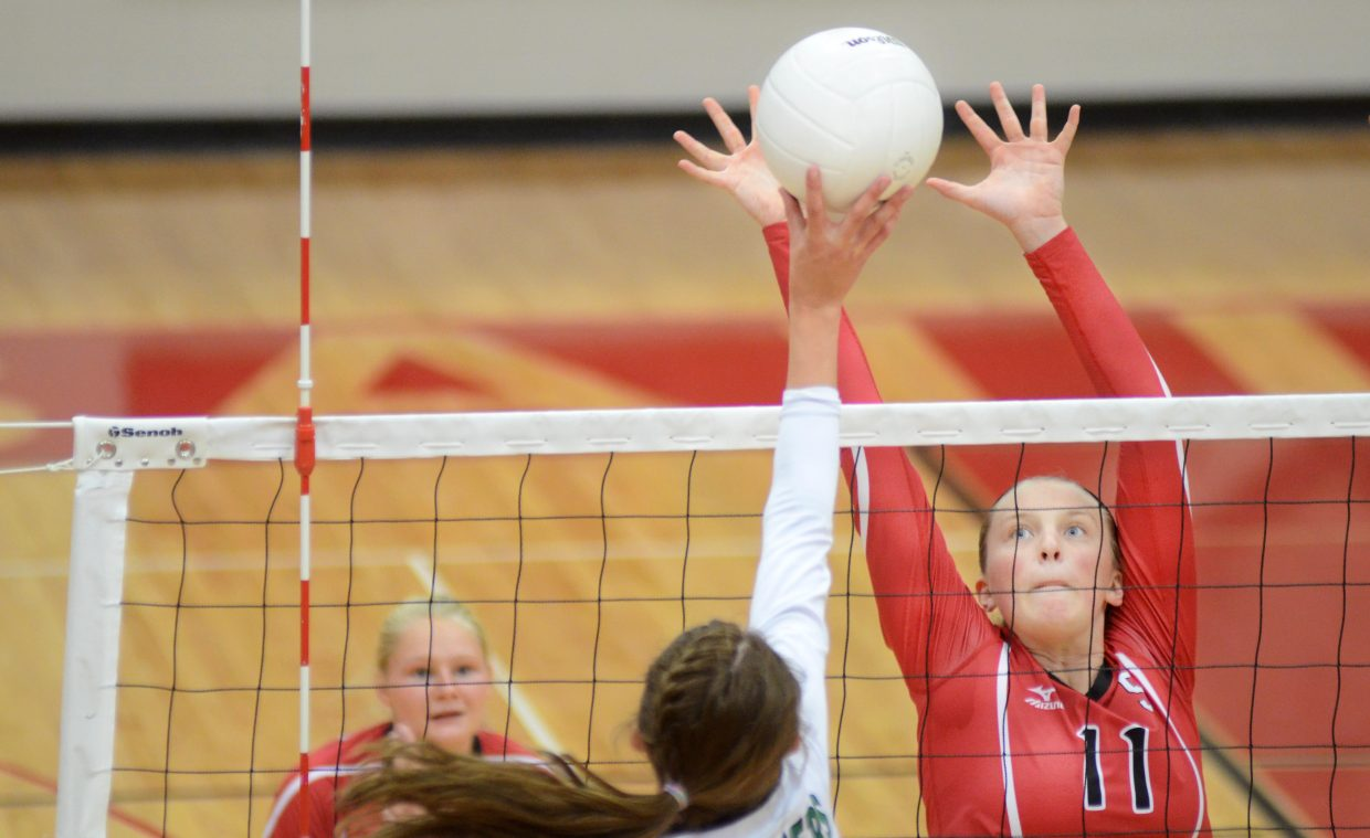 Steamboat Springs junior Annie Osbourn rises up for a block against Delta in the Sailors' 3-0 sweep Saturday. Steamboat improved to 12-0 with the win, and will play co-league leader Battle Mountain on Thursday.