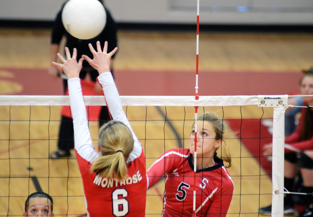 Steamboat Springs High School senior Taylor Harrington tries to squeeze one by the Montrose defense Saturday in the Sailors 3-0 loss, dropping them to 12-2 on the season.