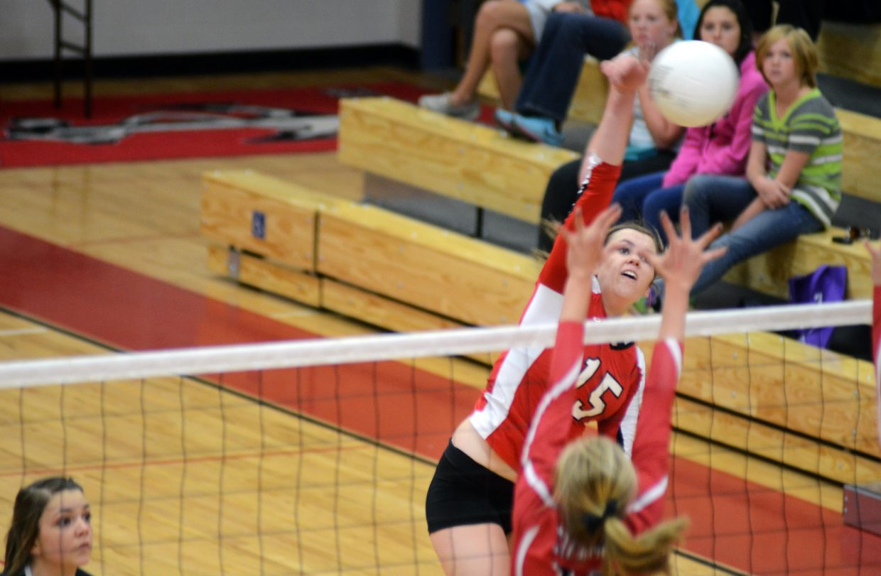 Montrose standout junior Elise Hill slams home one of her game-high 14 kills Saturday. The Indians knocked off Steamboat Springs, 3-0.