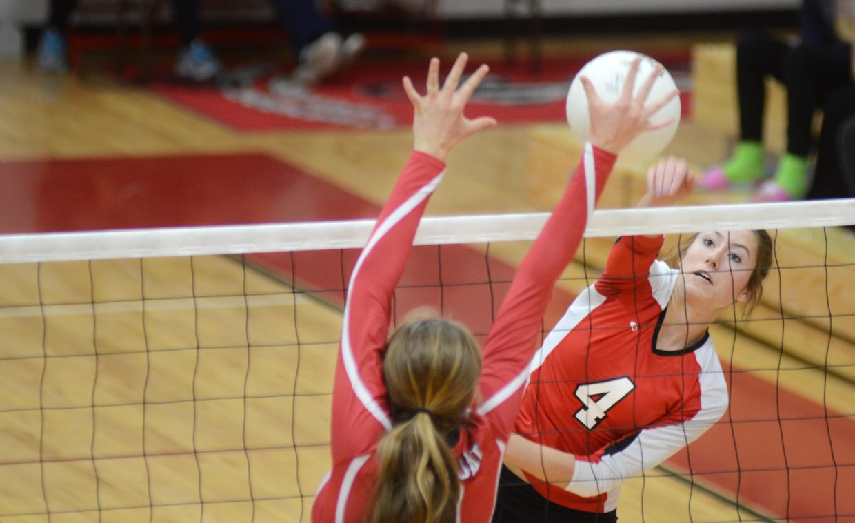 Montrose's Marisa Jahnke blasts in a kill past the Steamboat Springs' defense Saturday. The sixth-ranked Indians cruised to a 3-0 sweep, dropping the Sailors to 12-2 on the season.