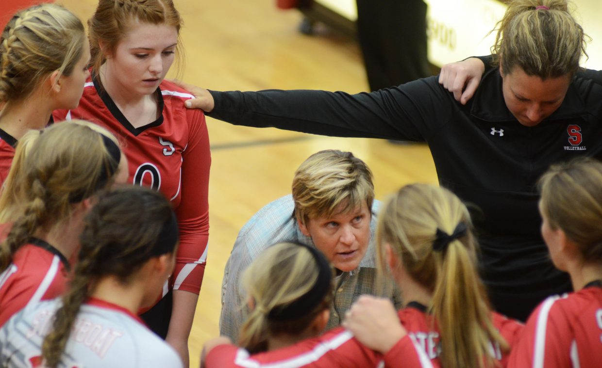 Steamboat Springs volleyball coach Wendy Hall tries to fire up her team after a sluggish first set in the Sailors' 3-0 loss against No. 6 Montrose on Saturday.