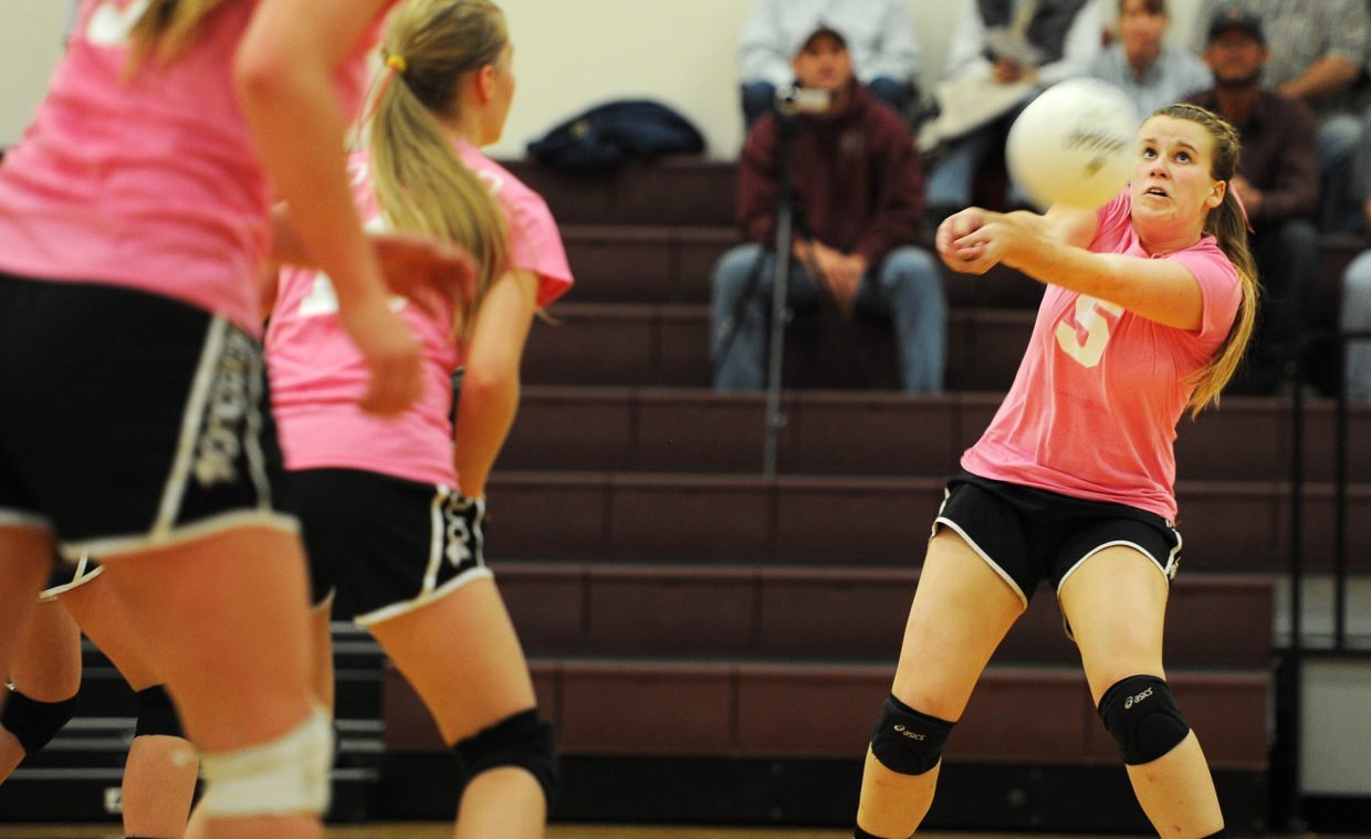 Soroco senior Belle Horn returns a Vail Christian serve during the second set of the Rams' 3-0 loss to the Saints on Thursday night. Soroco rounds out the regular season on the road the next four games en route to the district tournament.