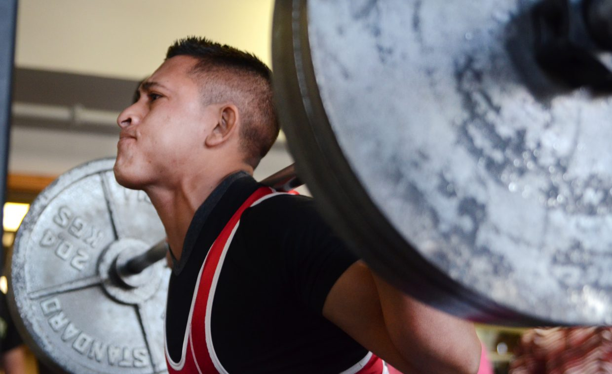 Rodrigo Flores had the best squat of the day, lifting 340 pounds at the Old Town Hot Springs' powerlifting meet Sunday.