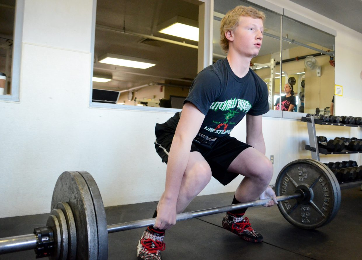 Hayden Johnson, 14, had a three-lift total weight of 535 pounds Sunday at the Old Town Hot Springs' powerlifting meet.