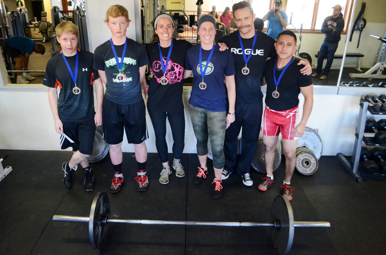 From left, Dakota Thvedt, Hayden Johnson, Mariah Decker, Courtnay Browne, Rick Decker and Rodrigo Flores were the six competitors during Sunday's powerlifting meet at Old Town Hot Springs. Flores won the men's side, and Browne had the best score on the women's side.