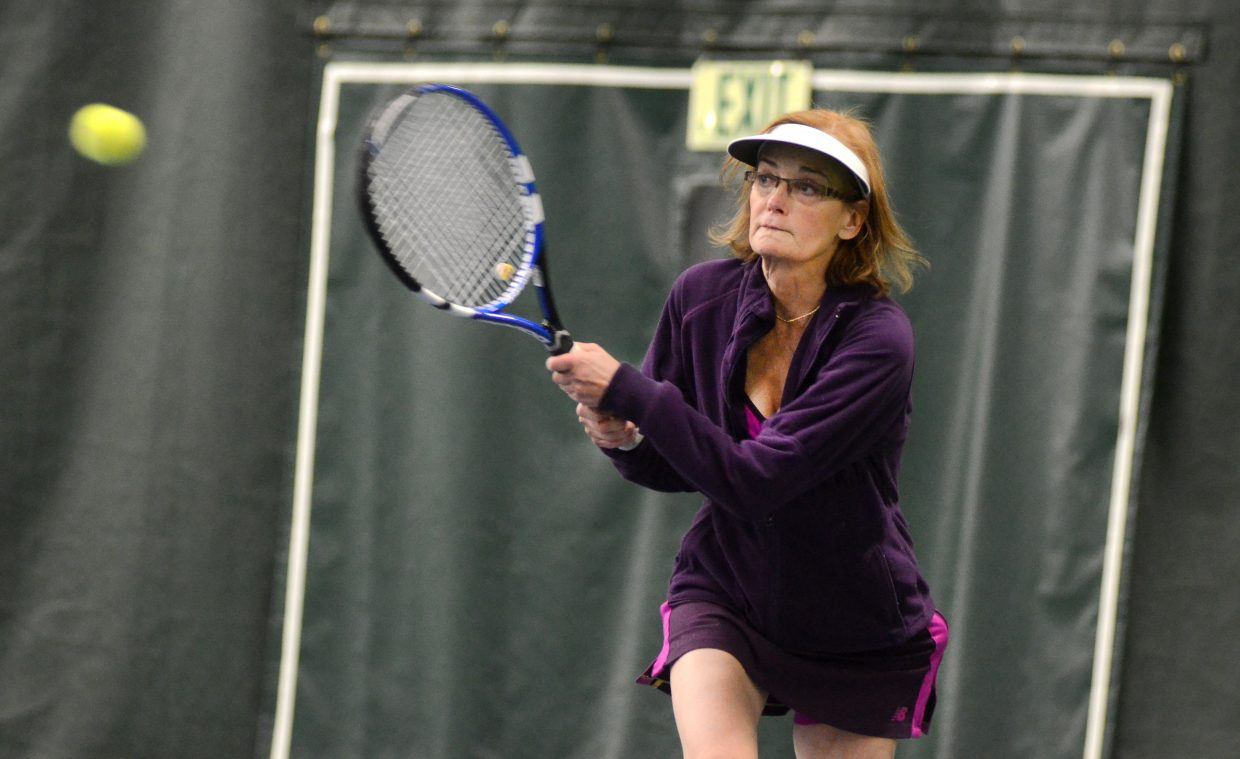 Marion Kahn gets one over the net Sunday in the women's 3.5 doubles finale at the Steamboat City Singles and Doubles Championships. Kahn and doubles partner Carolyn Krueger were beat out by Susan Stempel and Karen DeLine.