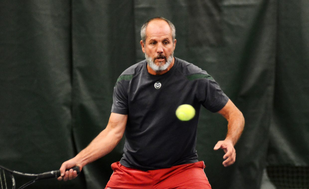 Steve DeLine eyes a return Sunday in the men's 4.0 doubles finale at the Steamboat City Singles and Doubles Championships.