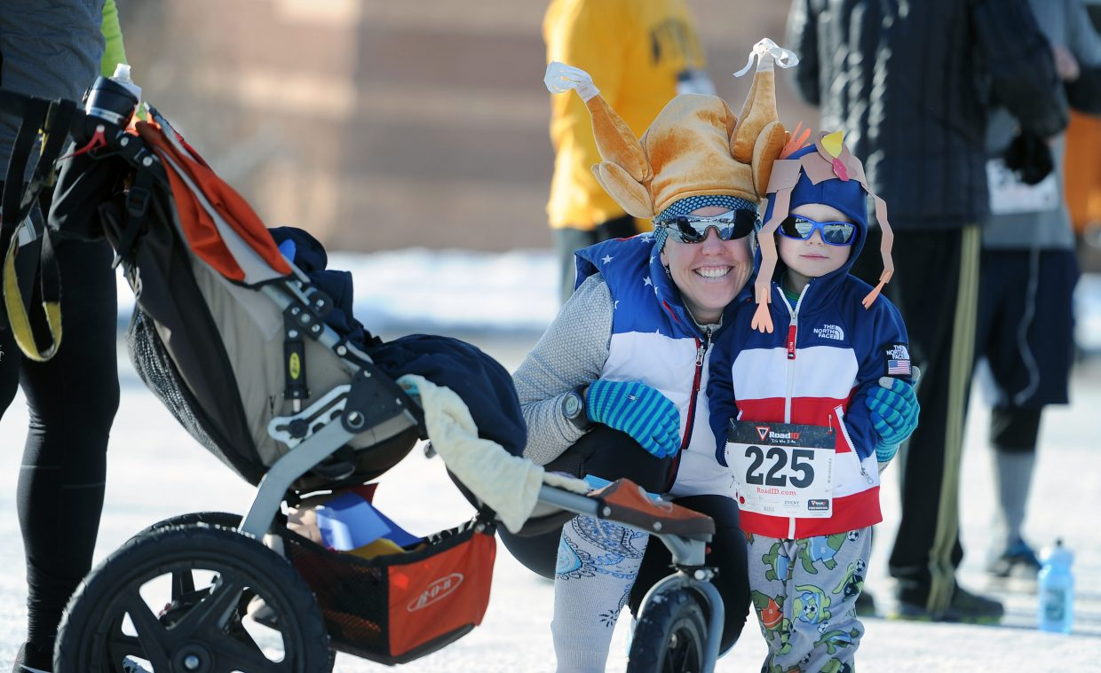 Robin Hall poses with her son Alex Hall, 3, before the 2014 Steamboat Springs Turkey Trot.