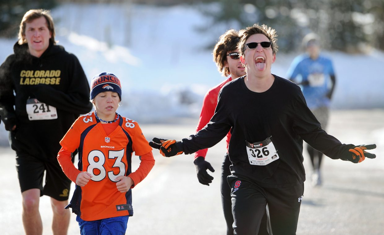 Steamboat Springs' Charlie Tisch was one of many excited runners at the 2014 Turkey Trot.