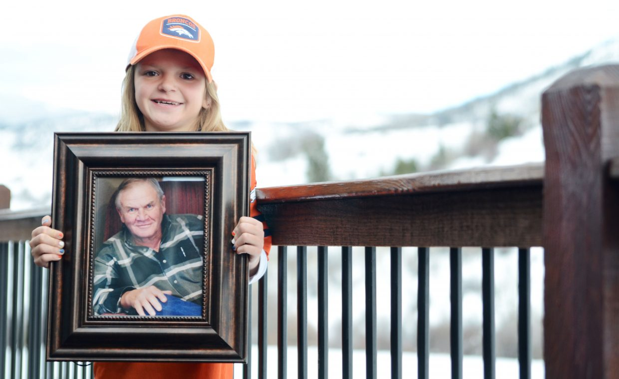 Lexi Vandenburg lost her grandfather Bryan Vandenburg to cancer in March after a three-year battle. This fall, as part of a citizenship project at South Routt Elementary School, the third-grader went door to door asking for donations to go directly toward beating the disease and honoring her grandfather.