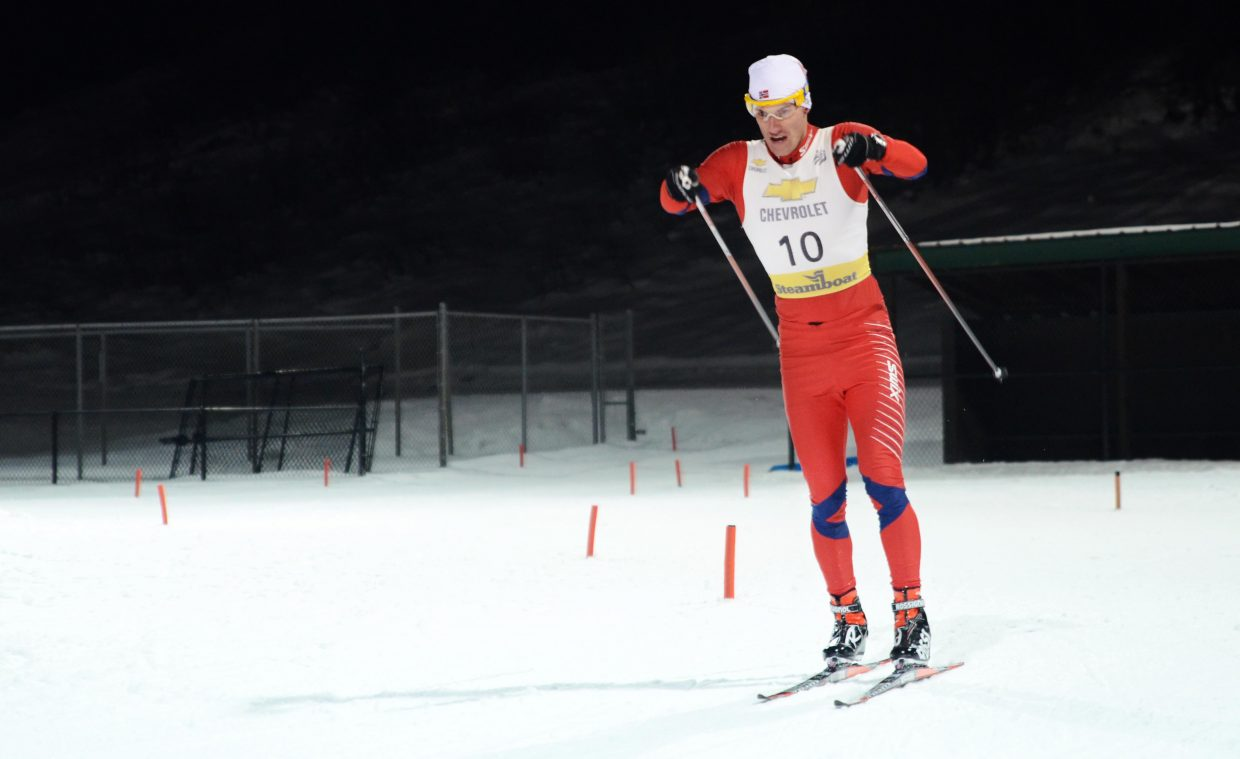 Former Steamboat Springs Winter Sports Club Nordic combined racer Colin Delaney skis to a big lead in the fourth lap of Saturday's Rocky Mountain Division Winter Start. Delaney won by 15 seconds.