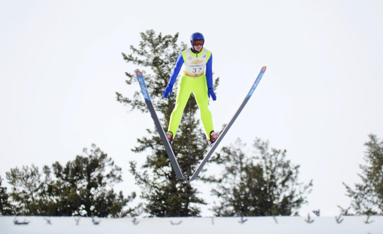 Steamboat Springs Winter Sports Club's Grant Andrews finished sixth in the jumping portion on the HS-100 in Saturday's Rocky Mountain Division Winter Start Nordic combined competition.