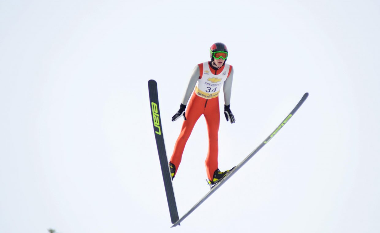 Steamboat Springs Winter Sports Club's Koby Vargas finished in eighth place of the HS-100 senior division Saturday.