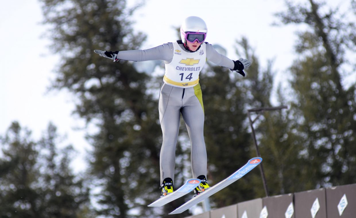 Logan Sankey, a new U.S. Women's Ski Jumping team member, sticks her landing on the HS-75 on Saturday at Howelsen Hill.