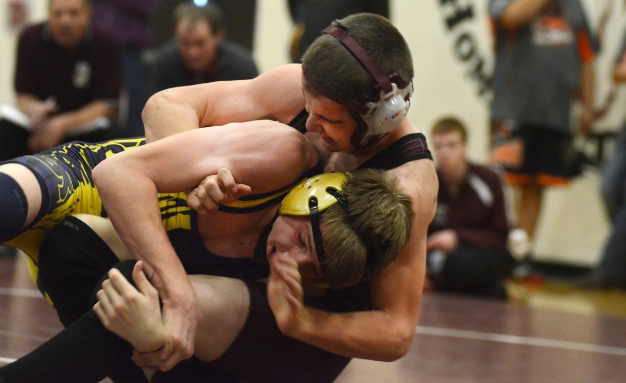 Lane Martindale tries to avoid a take-down from Saratoga's Bradley Bifano in the deep 132-pound bracket Saturday. Martindale lost the match in an 11-4 decision. Bifano won the bracket.