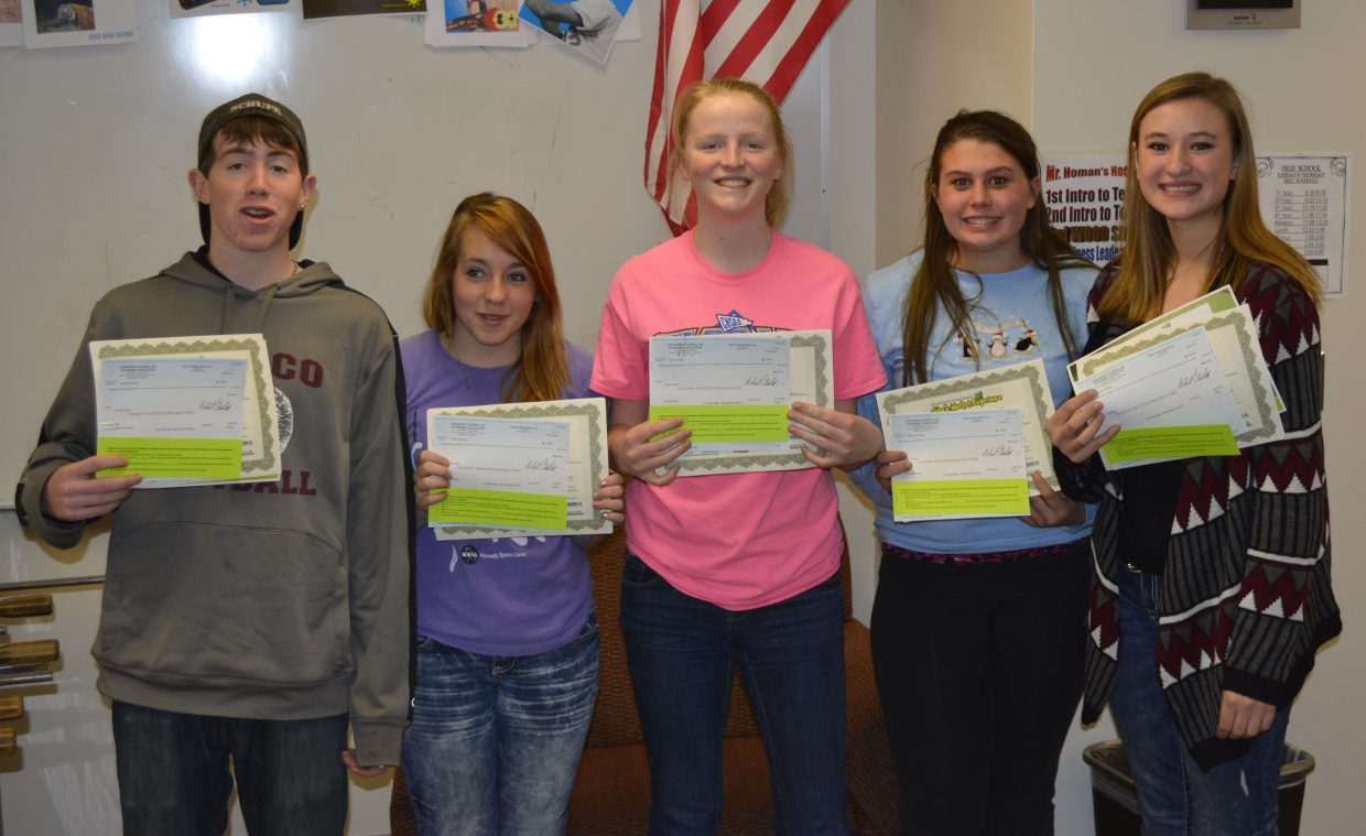 From left, Soroco High School students Andrew Schupner, Brittney Schrader, Leah Walorski, Morgan Harding and Briana Peterson took third place in the statewide Stock Market Experience challenge.